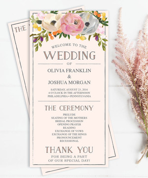 【Sweet Blooms】ゲストが何名でもこの値段♥︎自分で作る海外風ウェディングプログラム表キット│結婚式
