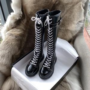 ロングブーツ 編み上げ マーティンブーツ レースアップ レーザーブーツ ゴシック レディース ロリータ シューズ  コスプレ靴  大きいサイズ 小さいサイズ コスプレシューズ  黒 LOLITA 7136