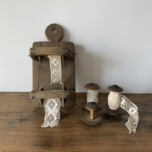 Yarn Spool Holder with Lace Ribbon