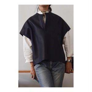 Simva 101-0012-Nvy Leather/Wool Tunic Navy