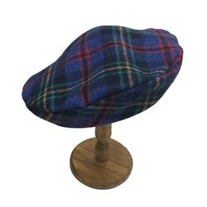 チェックベレー帽 ブルー