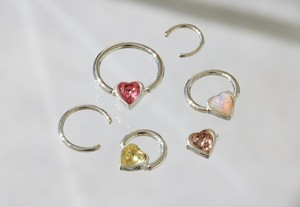 Vintage Heart glass の snap RING body jewelry 横 チャーム単体 SILVER925 #LJ20025P