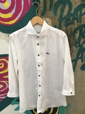 メンズシャツ <リネン 七部丈 Mサイズ>