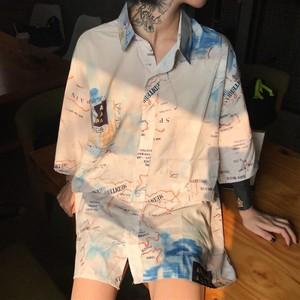 2018 夏 秋 新作 地図 総柄 シャツ 韓国ファッション オルチャン 126