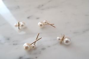 cross pearl pierce & double pearl pierceセット