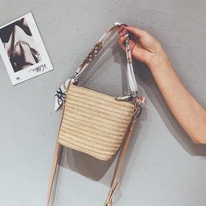 【バッグ】新作夏草編み無地シンプルカゴバッグ