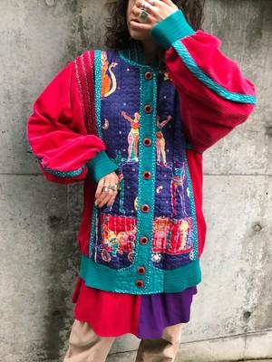 Jeanne marc circus print quilting × corduroy jacket ( ジェーンマーク サーカス柄 キルティング × コーデュロイ ジャケット )