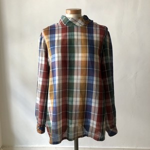 Stand Collar Check Blouse