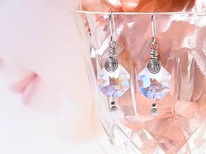 スワロフスキー オクタゴン シンプルデザイン ピアス&イヤリング(163134 crystalAB)