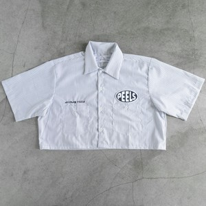 "Peels Oval Logo Striped Cropped Shirt ""ALLDAY PIZZA"""