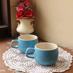 昭和レトロ まあるい水色のカップ コップ