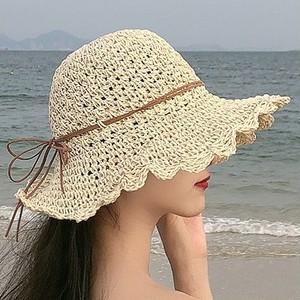 【小物】リボン飾り折りたたみ調節可日焼け防止日よけサンハット帽子26654587