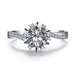 モアサナイト ダイヤモンド 1カラット 雪の結晶 リング