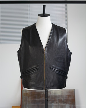<SOLD OUT>French Vintage - Helston's Motorcycle Leather Zip Vest