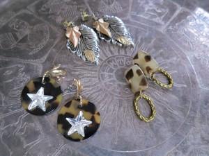 レオパード&スターピアス vintage pierced earrings leopard <PE-LPst>