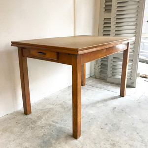 Vintage Linoleum Extension Dining Table リノリウム 1950's フランス