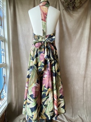 80s USA vintage big flower dress/大胆花柄の美シルエットヴィンテージワンピース