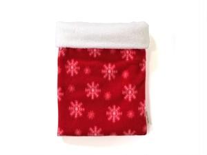 ハリネズミ用寝袋 M(冬用) フリース×フリース スノー レッド
