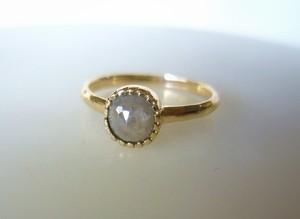 ナチュラルダイヤとの14の指輪(ミルキーグレー)