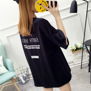 【トップス】シンプル春夏アルファベットプリント韓国風カジュアルラウンドネック半袖Tシャツ