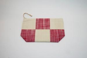シルク ポーチ(マチあり)白+絣赤