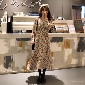 【ワンピース】春ファッション学園風ルーズ合わせやすいスウィートプリントワンピース