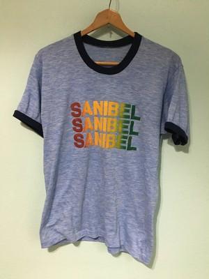 USビンテージ レインボーロゴ リンガー 霜降り Tee シャツ 80s OLD アメリカ製 サニベル島