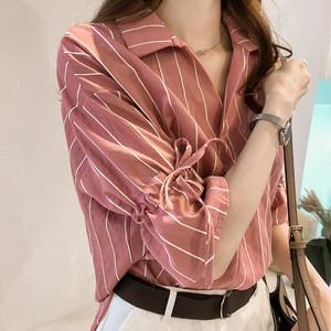【トップス】人気上昇中折り襟可愛い袖ストライブ柄シャツ