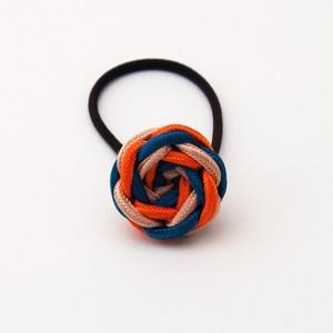 正絹 髪飾り いちりんヘアゴム 緑×オレンジ 昇苑くみひも 組紐アクセサリー