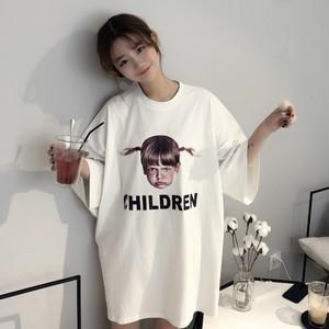 【トップス】シンプルプルオーバー春夏ラウンドネックプリントTシャツ