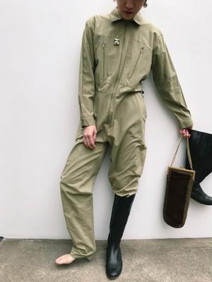 Vintage ITALY khaki cotton jumpsuits ( ヴィンテージ カーキ  コットン オールインワン )