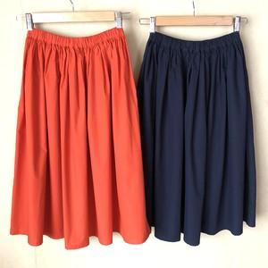 sale! コットンブロードスカート オレンジ/ネイビー