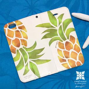 【名入れ可】iphone6-8 手帳型ケース パイナップル柄(受注生産)