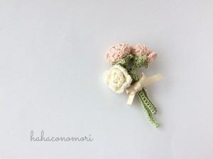 レース糸♡バラの花束のブローチ