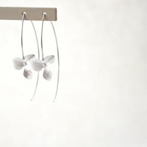Silver Flower Long Hook Pierce