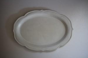 うつわうたたね|リム稜花オーバル皿 1尺 白