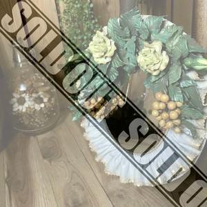 ≫ハンドメイド素敵なフラワーウォールミラー*花の壁掛け鏡*手作り美細工ハンドクラフト植物*アンティーク華リースロココ姫ナチュラル自然