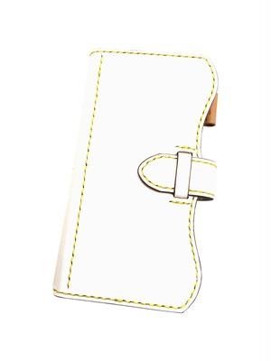 スマホケースLL 革:白革 糸:黄色