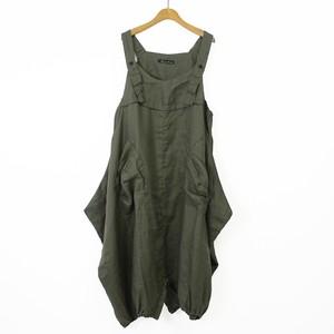 裾ゴム バルーンリネンサロペットスカート