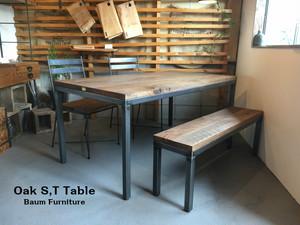 ダイニングテーブル 160cm ホワイトオーク アイアン[Oak S,T Table]