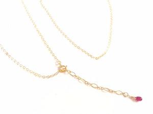 ○★K14GFのネックレス★ 50cm (ルビー付き)