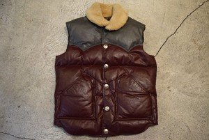 USED 80s Snowbird Leather Down Vest -Small V0757