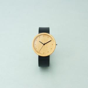Cherry wood - Organic leather Black - L