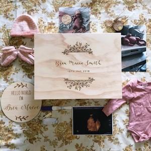 ベビー メモリアル ボックス 30cm|フローラルリース|名入れ、誕生日|世界にたったひとつのオリジナル記念ボックス|出産祝い|ギフト