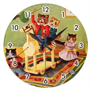 子猫たちの日常・壁時計(日本デザイン)