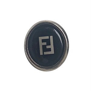 【VINTAGE FENDI BUTTON】Ellipse ブラック ボタン 1.2×1.5㎝