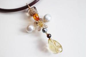 レモン水晶と真珠のクロス・ペンダントトップ
