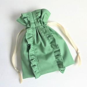 ストレートライン ダブルフリル巾着ポーチ グリーン