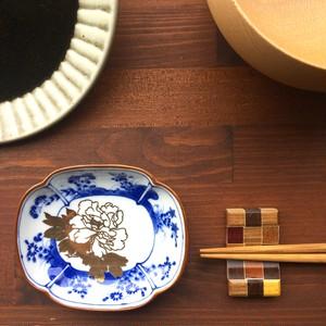 豆皿 草花文瓜形皿