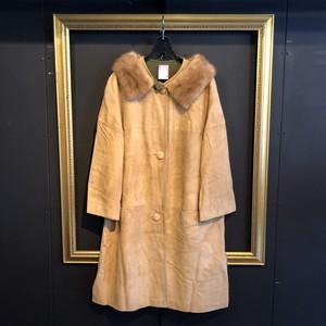 60's beige suede coat [B1627]
